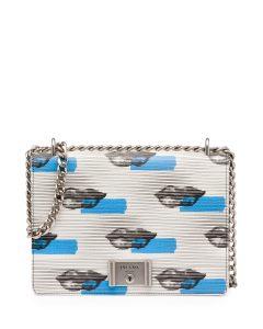 Prada White/Blue Lip Print Vitello Daino Shoulder Bag