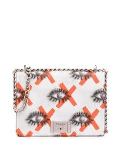 Prada White/Red Eye Print Vitello Daino Shoulder Bag