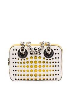 Prada White/Yellow Perforated City Fori Chain Shoulder Bag