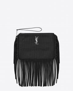 Saint Laurent Black Crocodile Embossed Monogram Pouch Bag