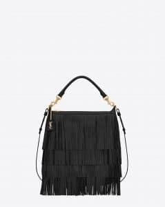 Saint Laurent Black Fringed Emmanuelle Hobo Small Bag