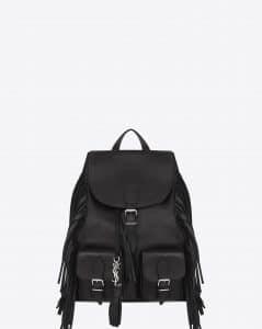 Saint Laurent Black Fringed Festival Backpack Bag