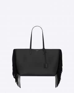 Saint Laurent Black Fringed Fringed Shopping Tote Large Bag