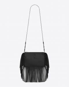Saint Laurent Black Fringed Monogram Crossbody Small Bag