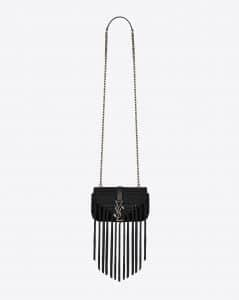 Saint Laurent Black Leather/Crochet Baby Monogram Chain Bag