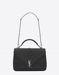 Saint Laurent Black Matelasse Monogram College Large Bag