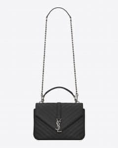 Saint Laurent Black Matelasse Monogram College Medium Bag