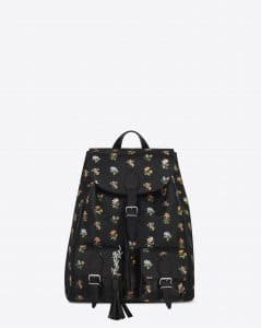 Saint Laurent Black Multicolor Prairie Flower Printed Festival Backpack Bag
