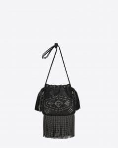 Saint Laurent Black Studded Fringed Helena Bucket Small Bag