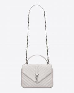 Saint Laurent Dove White Matelasse Monogram College Medium Bag