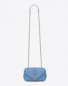 Saint Laurent Light Blue Matelasse Baby Monogram Chain Bag