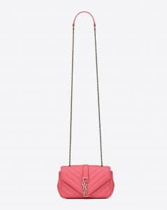 Saint Laurent Light Rose Matelasse Baby Monogram Chain Bag