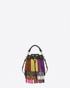 Saint Laurent Multicolor Fringed Emmanuelle Bucket Small Bag