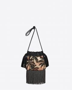 Saint Laurent Red/Yellow/Black Sunset Jacquard/Leather Fringed Helena Bucket Small Bag