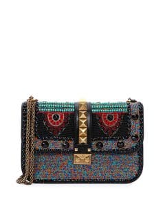 Valentino Black Beaded African Lock Flap Medium Bag