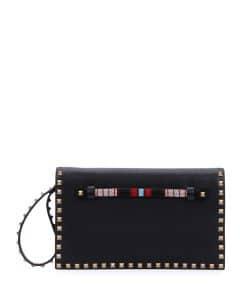 Valentino Black Beaded Rockstud Clutch Medium Bag