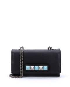 Valentino Black Va Va Voom Rolling Rockstud Shoulder Bag
