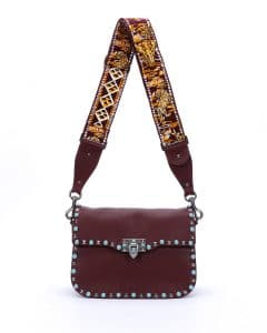 Valentino Bordeaux Studded Rockstud Messenger Bag with Animal Embroidered Strap