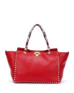 Valentino Red Beaded-Handle Rockstud Tote Medium Bag