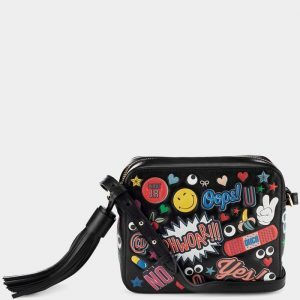 Anya Hindmarch Black All Over Stickers Cross-Body Bag