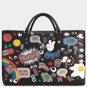 Anya Hindmarch Black All Over Stickers Maxi Featherweight Ebury Bag