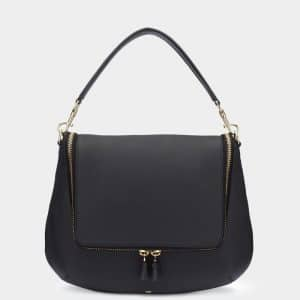 Anya Hindmarch Black Maxi Zip Satchel Bag