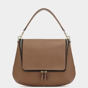 Anya Hindmarch Caramel Maxi Zip Satchel Bag