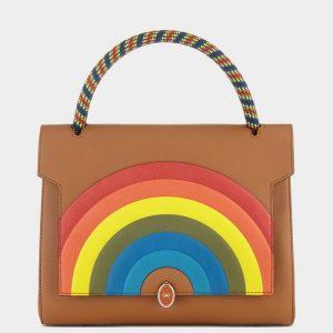 Anya Hindmarch Caramel Rainbow Bathurst Satchel Small Bag