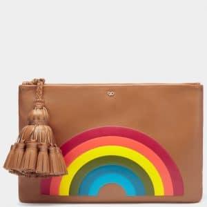 Anya Hindmarch Caramel Rainbow Georgiana Clutch Bag