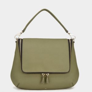 Anya Hindmarch Light Olive Maxi Zip Satchel Bag