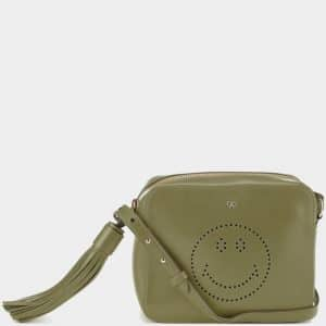 Anya Hindmarch Light Olive Smiley Cross-Body Bag