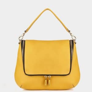 Anya Hindmarch Mustard Maxi Zip Satchel Bag