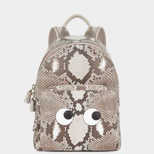 Anya Hindmarch Natural Python Eyes Mini Backpack Bag
