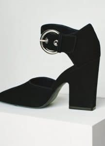 Celine Black Suede Curved Heel Mary Jane Pump