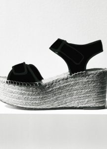 Celine Black Wedge Scratch Platform Espadrille