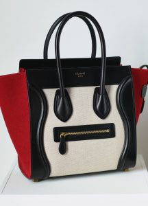 Celine Black/Red/White Leather:Textile Micro Luggage Bag