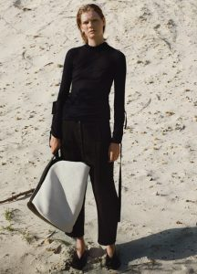 Celine Black/White Large Canvas Bucket Bag / Turtleneck Sweater / Relaxed Fit Front Buttoned Trousers / Rodeo V Neck Pump
