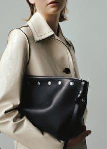 Celine Cream Lacquered Car Coat and Navy Blue Studded Medium Sailor Bag