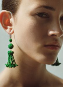 Celine Green Beads Pompon Earrings