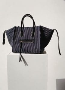 Celine Navy and White Textile Luggage Phantom Medium Bag