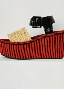 Celine Red and Black Striped Spring Wedge Sandal