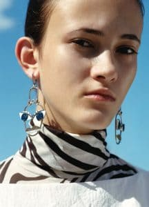 Celine T-Shaped Top / Turtleneck Top / Patchwork Face Earrings