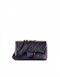 Chanel Purple Iridescent Double Carry Flap Small Bag