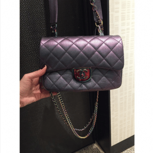 Chanel Purple Iridescent Double Carry Flap Small Bag 3