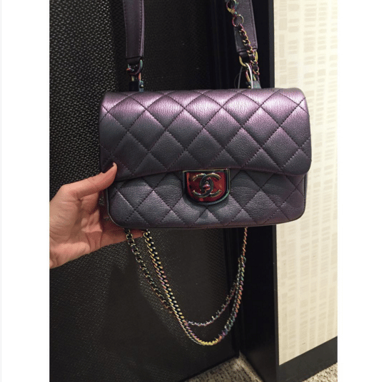 3098402e806c0b Chanel Purple Iridescent Double Carry Flap Small Bag 3. IG:  lux_brands_boutique