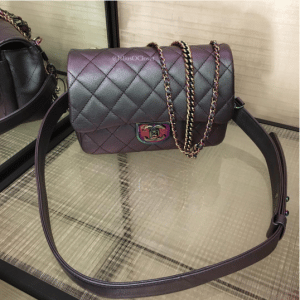 Chanel Purple Iridescent Double Carry Flap Small Bag 4