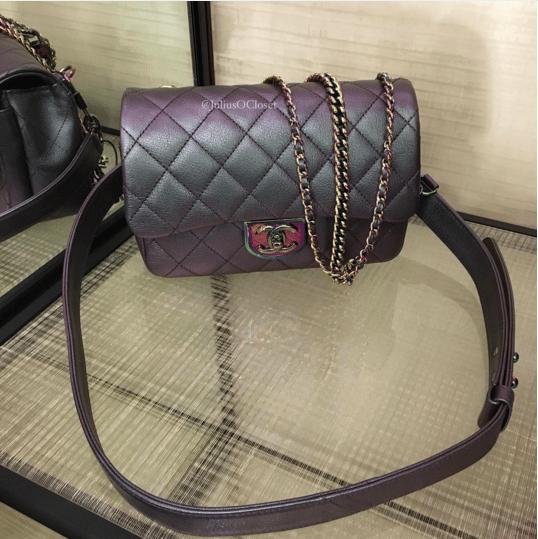 6dc69d87d483 Chanel Purple Iridescent Double Carry Flap Small Bag 4. IG: juliusocloset
