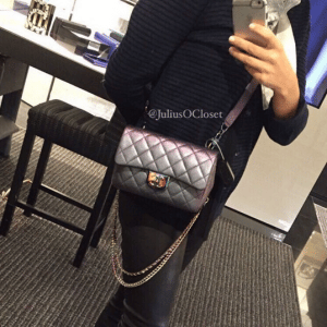 Chanel Purple Iridescent Double Carry Flap Small Bag 5