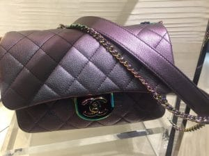 Chanel Purple Iridescent Double Carry Flap Small Bag 6