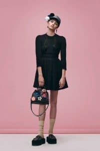 Fendi Black Floral Embellished Peekaboo Mini Bag - Pre-Fall 2016